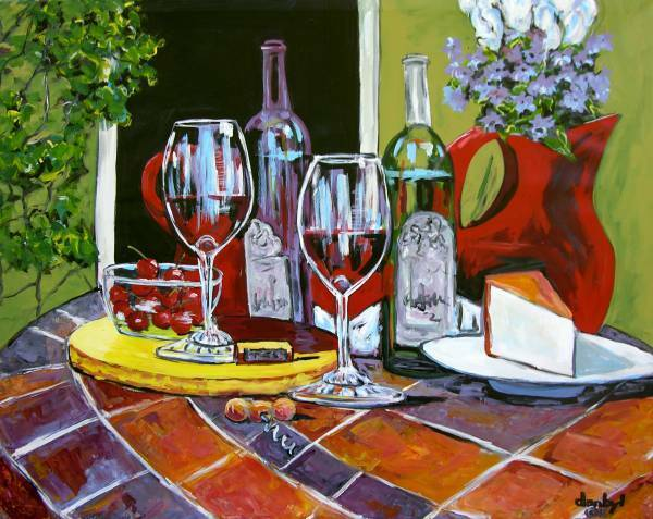 RED WINE Original Art PAINTING DAN BYL Fine Contemporary Modern Canvas Huge 4x5'
