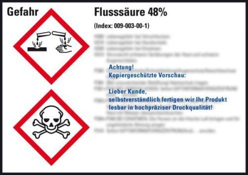 GHS-Etikett Flusssäure 48/% gem.GefStoffV//GHS//CLP Folie 105x74mm 8//Bogen