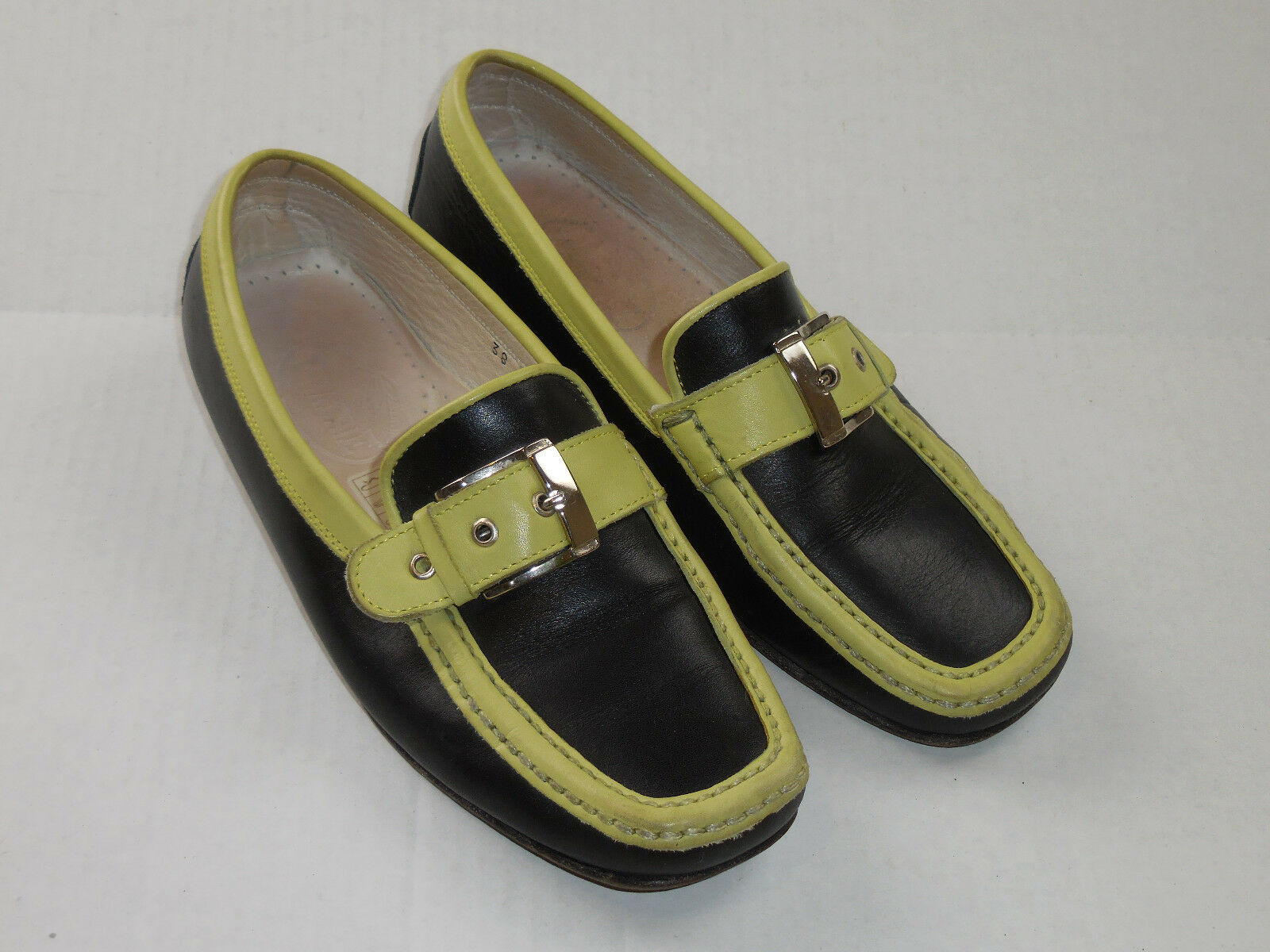 PRAERIE Black Green Italian Leather Slip On Loafers Silver Buckle EURO 38 US 7.5