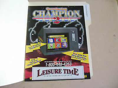 Manuals & Guides Arcade Gaming Adroit Countertop Champion 2 Arcade Game Flyer Comfortable And Easy To Wear