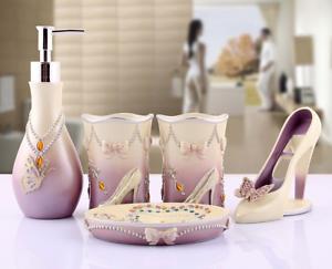 5pcs Bathroom Accessories Sets Toothbrush Dish Soap Holder Purple&White,R<wbr/>esin