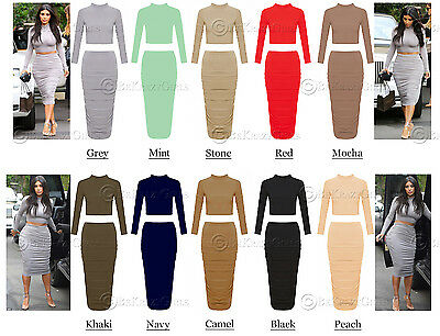 New Women Ladies Celebrity Inspired Two Piece Suit Crop Top Skirt Polo Neck Suit
