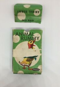 Vintage-Animal-Rummy-Card-Game-Complete-Set-of-Cards-Whitman-Made-in-USA