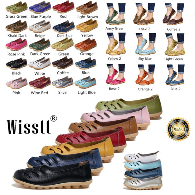 Women's Ladies Cosy Leather Work Casual Ballet Slip On Loafer Flat Driving Shoes