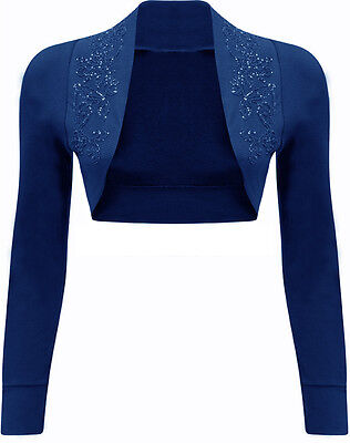 New Ladies Shrug Womens Beaded Design Long Sleeve Bolero Cardigan Top