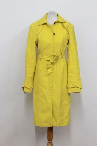 Single London Papir Yellow Citron Bæltet Bomuld Uk8 Ladies Størrelse Breasted Coat wpAASqnYx