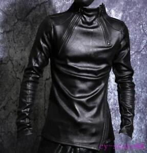 Mens-Zipper-Pullover-Shirt-Leather-Slim-Long-Sleeve-Punk-Fleece-Inside-Warm-Tops