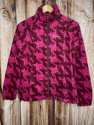 Columbia Women's Fleece Zip Up Jacket Pink Printed