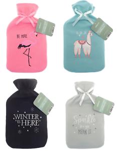 2L Hot Water Bottle Warm Applique Fleece Cover Winter Soft Warmer Assorted