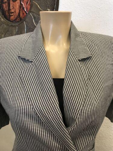 Retro Blazer Lined Black White Checkered Vintage Ladies Fashionsmall 80s Short Eqnw8B