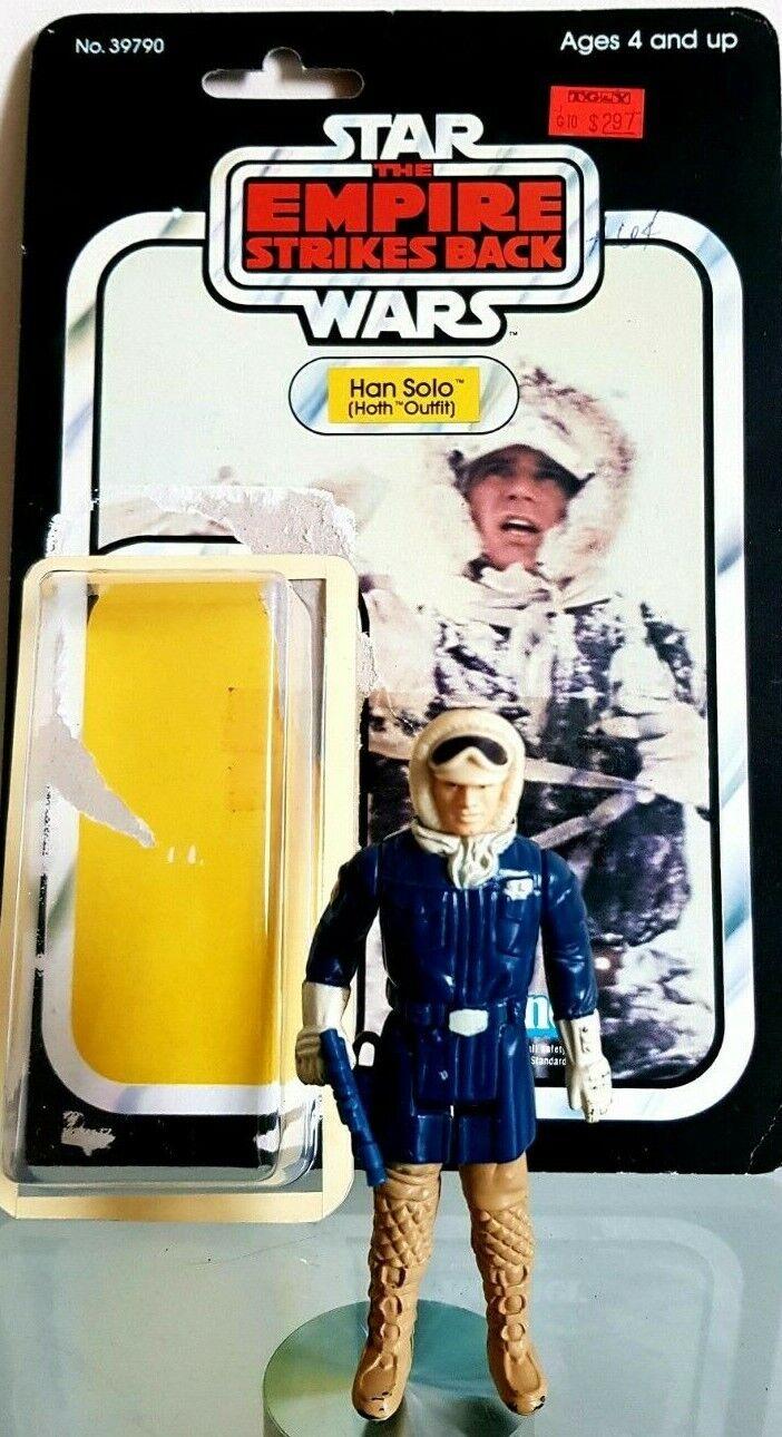 Star Wars Han Solo Figura 1980 Tarjeta Original Hoth REPRO Blaster moderno Burbuja