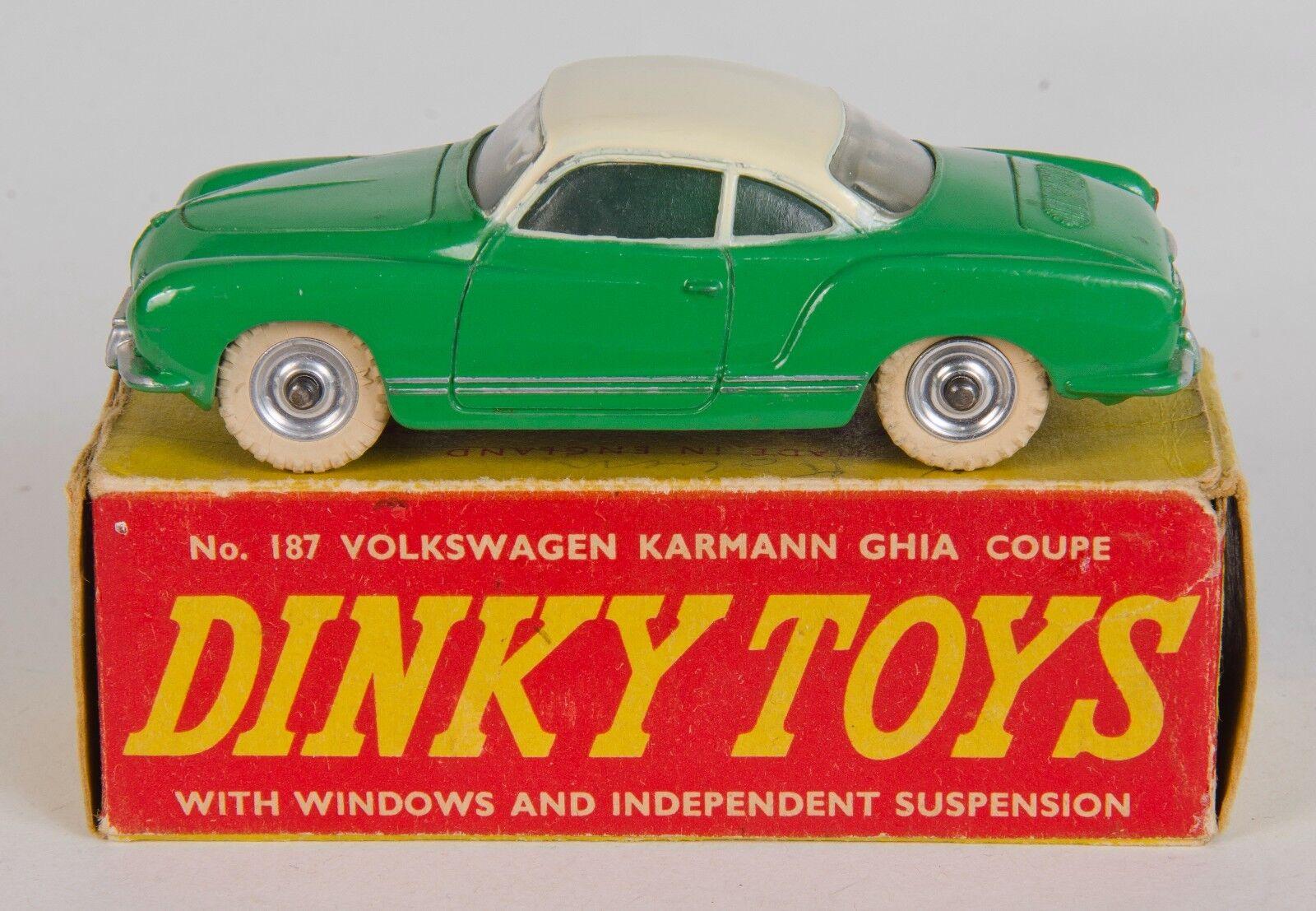 Dinky 187 VOLKSWAGEN KARhommeN GHIA Coupé.  vert crème. V. Near-Comme neuf Boxed 1950's  Commandez maintenant
