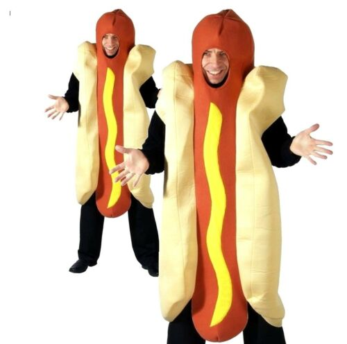 Adult HOT DOG Fancy Dress Costume Funny Fun Giant Outfit Food Novelty Stag Fresh