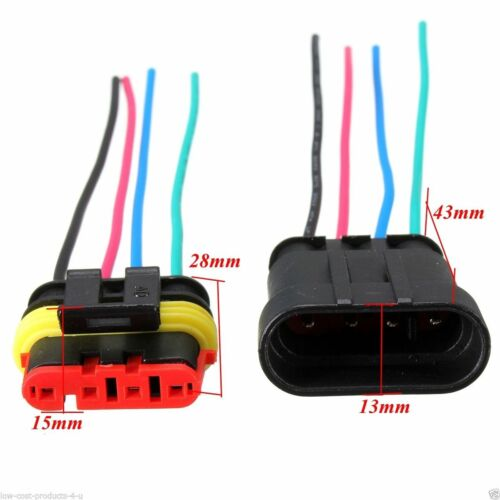 10 Kit 2//3 Pin Way Sealed Waterproof Electrical Wire Connector Plug Car Set UK