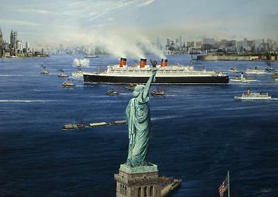 "Queen Mary New York Cunard Ocean Liner Marine Painting Art Print - 14"" Print"