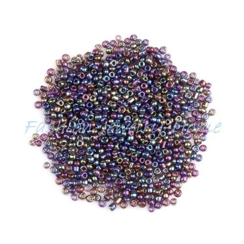 Rocailles mit Silbereinzug 2mm  20 g Farbauswahl Perlen Glasperlen
