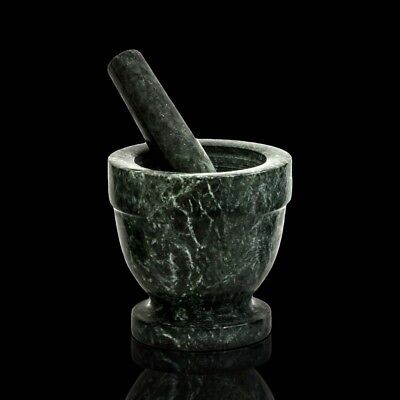 Coscienzioso Mortaio In Marmo Verde Con Pestello Cucina Farmacia Italian Marble Mortar 8x8cm
