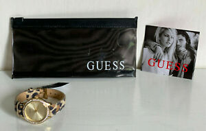 NEW-GUESS-GOLD-DIAL-GLITZ-LEOPARD-PRINT-GENUINE-LEATHER-WATCH-85-SALE