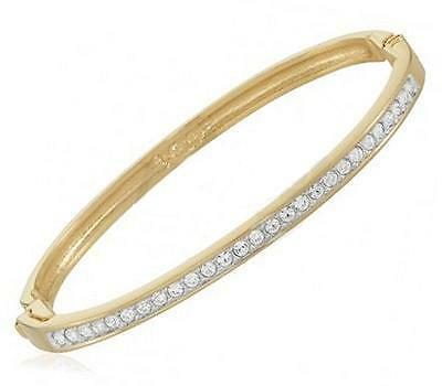 Bracelet Jonc Rail de Diamant Cz Rond 65 mm Plaqué Or 18K 5 Microns Dolly-Bijoux