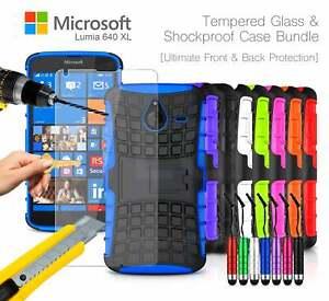 Microsoft-Lumia-640-XL-LTE-Shockproof-Tough-Case-Mini-Pen-amp-Tempered-GLASS