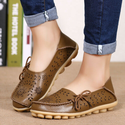 Womens Walking Casual Leather Shoes  Loafers Flats Comfort Moccasin Driving Peas