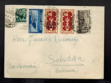 1949 Palermo Italy Cover to Sobotka Czechoslovakia Airmail