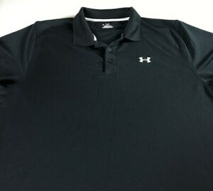 Under-Armour-Polo-Shirt-Mens-XL-Heat-Gear-Black-White-Golf-Soft-Poly-Spandex