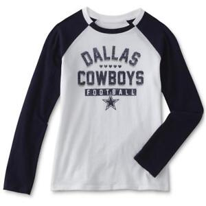 5b3cd014 Details about Dallas Cowboys NFL Youth Girls White Long Sleeve Tee Shirt,  Large (12/14) NWT