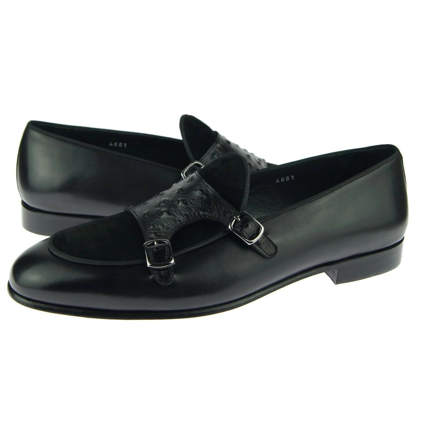 Corrente 4661 Double Monk Loafer, Men's Dress Leather scarpe, nero