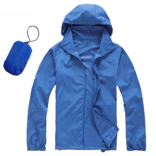 Herren Hooded Regenjacke Damen Kapuze Sonnenschutz Wasserdicht Nylon Mäntel DE