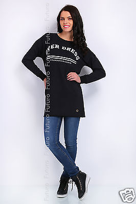 Ladies Long Top OVER DRESS Print Mini Dress Crew Neck Tunic Size 8-12 FT1376