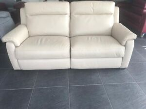 Furniture Village 3 Seater Leather Sofa Power Recliners Usb Beige