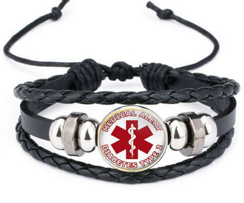 Creative diabète de type 2 Medical Alert Cuir Photo Verre noosa snap Bracelet