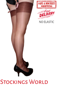 Fully-Fashioned-Stockings-BROWN-Non-Stretch-Seamless-GLOSSY-10-Denier-Medium-UK