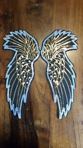 XL-Patch Flügel rot Federn Ornament Aufnäher mit kleinen Pailletten Aufnähen neu