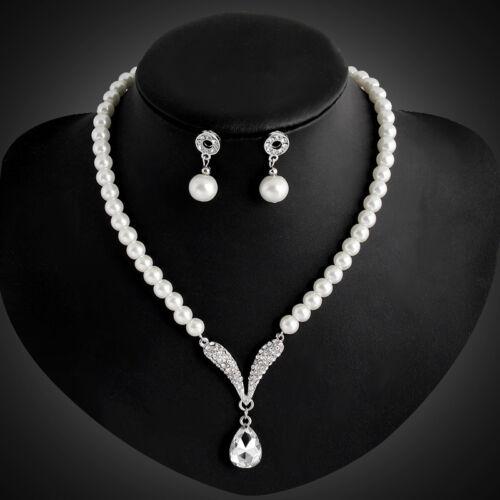 Bride Diamante Crystal Pearl Jewelry Set Silver Wedding Pendant Necklace Earring
