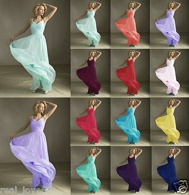 New Formal V-neck Wedding Evening Ball Gown Party Cocktail Prom Bridesmaid Dress