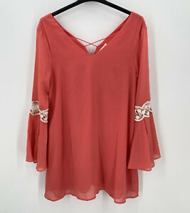Umgee Dress Size XL Mini Chiffon Coral Bell Sleeve Crocket Lace Baby Doll BOHO