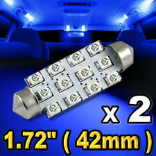 """2x Blue LED Lights For Dome Map 12-SMD 1.72"""" 42mm 211-2 578 #"""