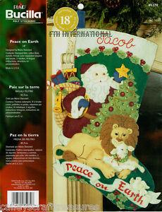 "Bucilla Peace On Earth ~ 18"" Felt Christmas Stocking Kit #85270 Santa Lion Lamb"