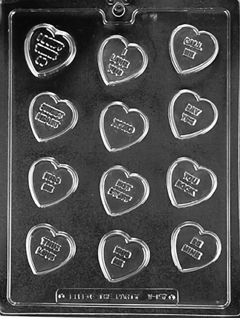 CANDY HEART PHRASES SAYINGS V157 Chocolate Candy Soap molds supplies day wedding