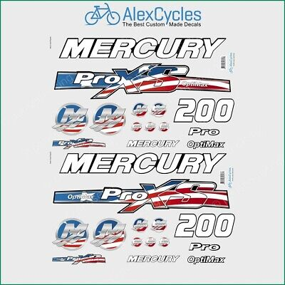 Mercury 225 HP Optimax ProXS Outboadrs Motor Red Laminated Decals Boat