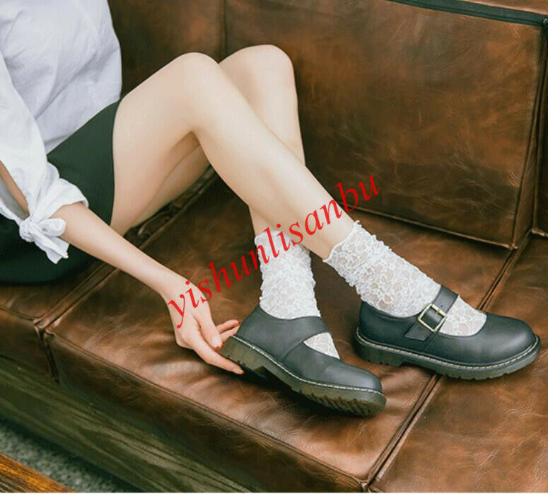 Mary Jane Vintage Flats scarpe Collegiate Round Collar Leather Oxfords Slip On NW