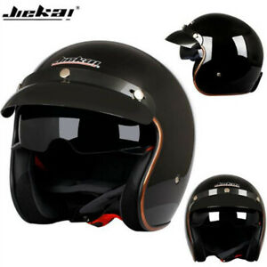 DOT-Motorcycle-Helmet-Open-Face-Integrated-Sun-Visor-Cruiser-Scooter-Gloss-Black