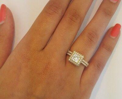 1 5 Ct Princess Cut Diamond Engagement Ring Set Wedding Band 14k Yellow Gold Ebay