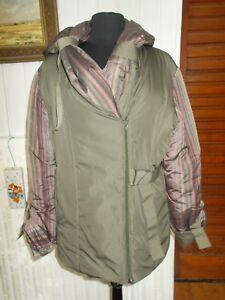 72f9d123a8 Manteau veste doudoune 54% soie kaki rayé rose MULTIPLES T.2 40/42 ...