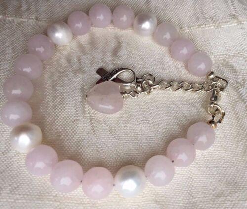 Fertility Pregnancy Rose Quartz charm bracelet Freshwater Pearls Love Friendship
