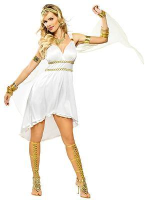 GREEK GODDESS OLYMPIA VENUS COSTUME ROMAN ATHENA SHORT TOGA DRESS WHITE SEXY