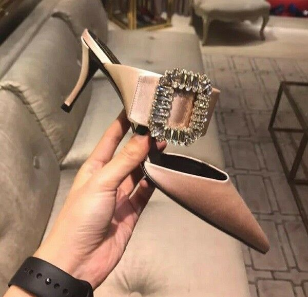 MW009798 - FASHION POINTED TOE RHINESTONE BUCKLE HIGH HEEL 34 MULES (SIZE 34 HEEL - 39) a4cb73