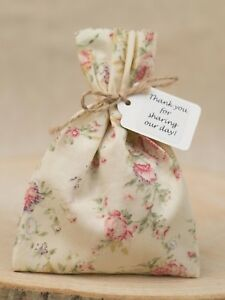Ivory Pink Tea Rose Wedding Favour Bags Shabby Chic Personalised